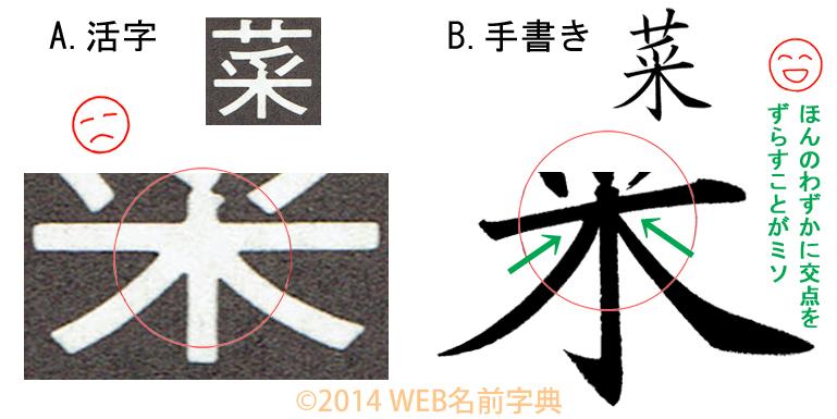 5つのポイント「菜」活字と手書き