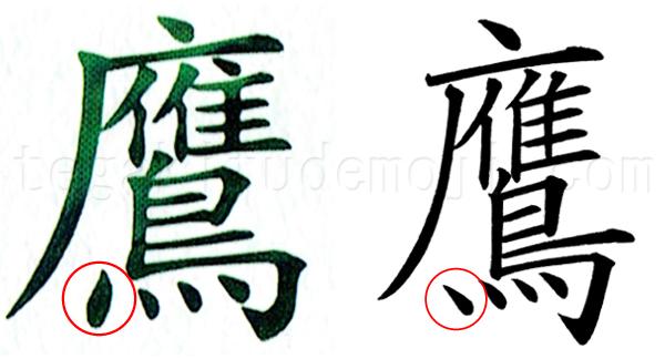 活字の「鷹」と手書きの「鷹」